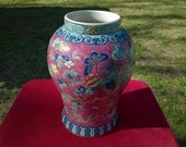 Rare Unique Antique 18th 19th Century Chinese KANGXI Period Fine Porcelain Vase EXTRA FAMILLE Bubble Gum Verte Colorful Butterflies Flowers