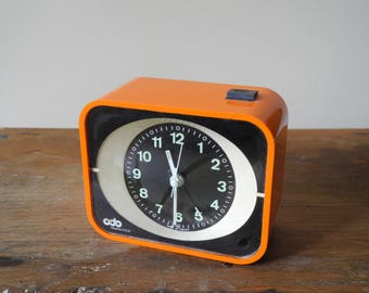 Vintage orange alarm clock - 1970 - Made in France