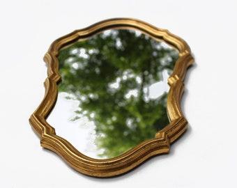 Vintage mirror, golden ornaments - 1960's