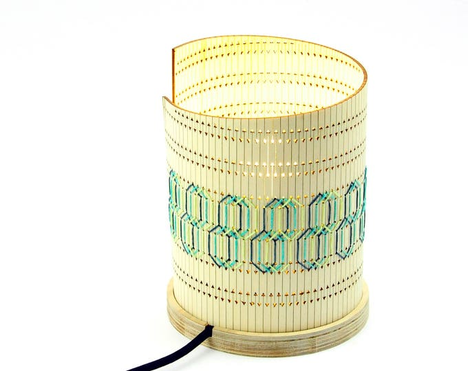 Featured listing image: Design > > OMGlow embroidered pattern Iguazu > table lamp hand embroidered