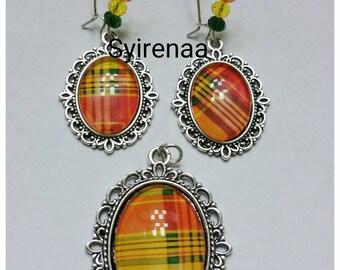 Madras set yellow/orange earrings and pendant