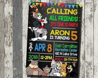 Tom Jerry Invitation And Birthday Party Personalized Digital File