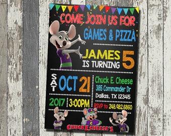 Chuck E Cheese Invitation Birthday Party Personalized Digital File