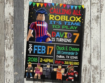 Roblox Invitation Birthday Party Personalized Digital File