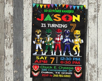 Power Rangers Invitation Birthday Party Personalized Digital File