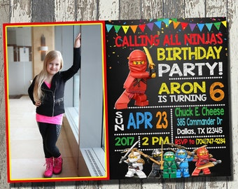 Lego Ninjago Invitation With Photo, Lego Ninjago Birthday Party, Lego Ninjago Birthday Invitation, Personalized, Digital File