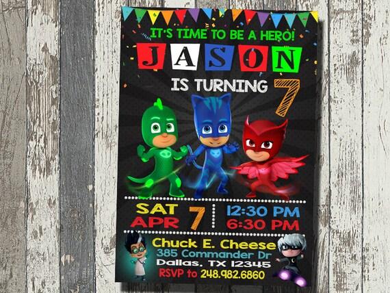 Pj Mask Invitation Birthday Party