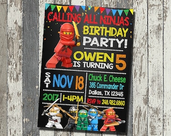 Lego Ninjago Invitation, Lego Ninjago Birthday Party, Lego Ninjago Birthday Invitation, Personalized, Digital File