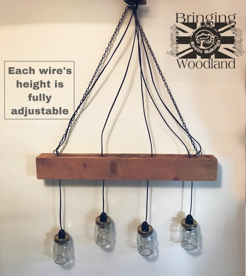 Rustic Farmhouse Country Hanging Ceiling Beam Lamp Bar Lounge Restaurant Dining Raw Upcycled Distressed Chandelier