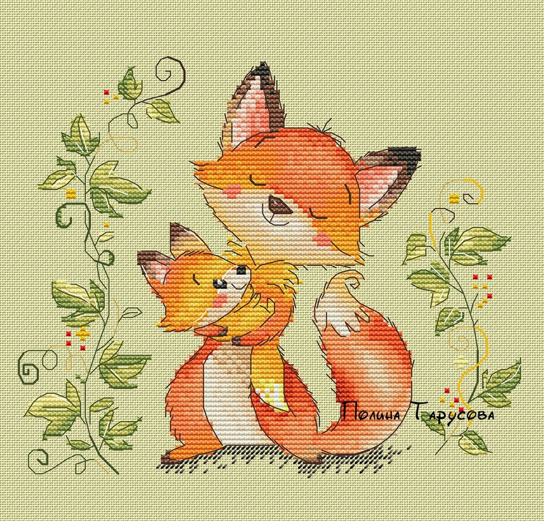 Fox mom mum mommy  mother  Fox  baby Pattern image 0