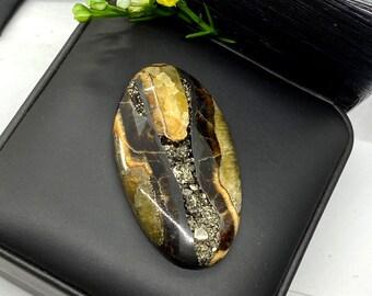 Simbircite cabochon 42x17mm yellow designer big size cabochon natural stone cabochon pendant size cab