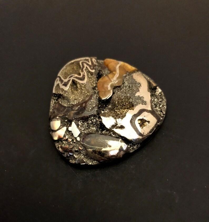 Russian Ammonite cabochon Designer Cabochon High grade Sea Fossil cabochon Huge Ammonite cabochon with Pyrite