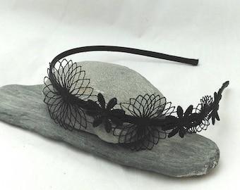 Black headband, elegant headband, elegant headpiece, filigree headband, flower headband, satin headband, headdress, wedding, communion