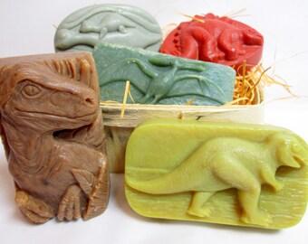 Dinosaur Soaps Stegosaurus, T-Rex, Pterodactyl, Velociraptor, Plesiosaur Kids Soap Pack FREE SHIPPING!