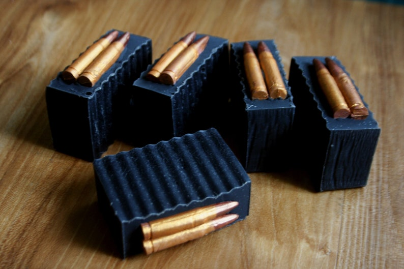 Gun Soap Loaded Magazine Bullets in Magazine Cold Process Soap image 0