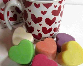 Conversation Hearts Soap and Hearts Mug FREE SHIPPING