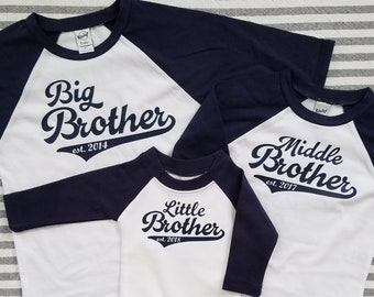 8f14e88e9 Big Middle Little Brother Set| Brother Shirts| 3 Boys| Big Brother Shirt|  Brother T-Shirt| Baby Brother| Pregnancy Announcement