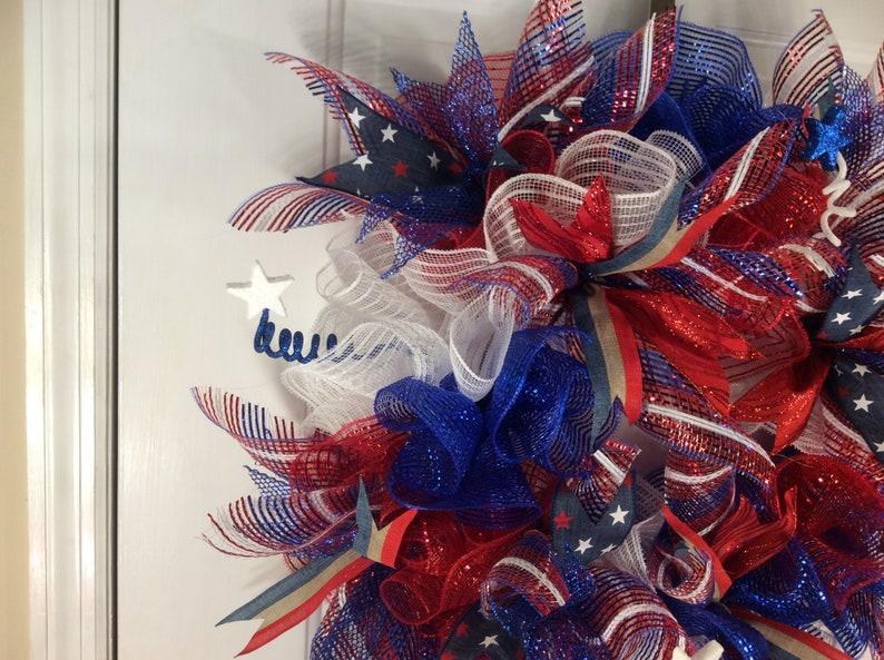 Patriotic Wreath,July 4th Wreath,Memorial Day Wreath,American Spirit Wreath,Front Door Wreath,Entryway Wreath,Home Decor Wreath,Americana