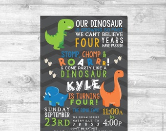 Dinosaur Birthday Invitation Roar Look Whos Four Party Personalized Digital Printable Invite Dino First Bday