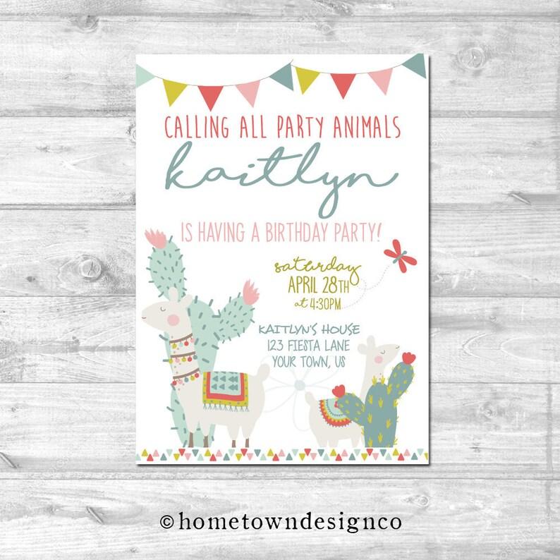 Llama Birthday Calling All Party Animals Birthday Invitation image 0