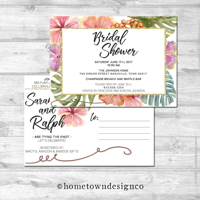 Tropical Bridal Shower Invitation Palm Tree Bridal Shower image 0