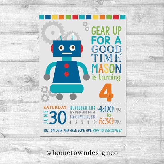 Robot Birthday Invitation Boy/'s Robot Birthday Invitation Robot Baby Shower Robot Invitation Bolt On Over And Let/'s Go Nuts Invitation