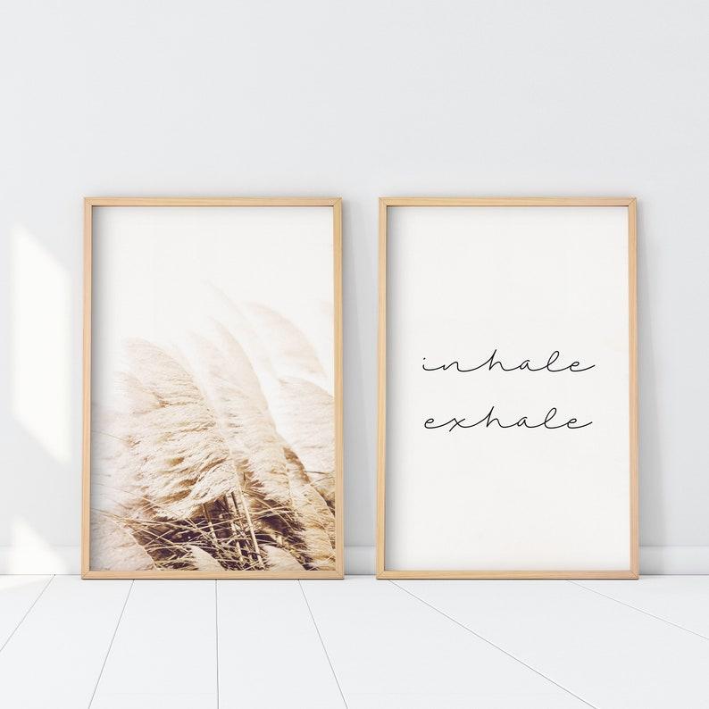 Set of 2 Pampas Inhale Exhale Print Boho Decor 2 pieces image 0