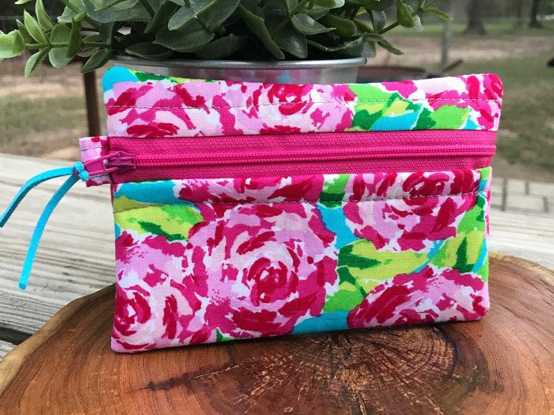 oil bag essential oil card wallet essential oil storage zipper wallet roses change purse watercolor cash wallet Essential Oil Bag