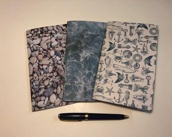 "Set of 3 B6 Slim Traveler's Notebook Inserts ""Sea Life"""