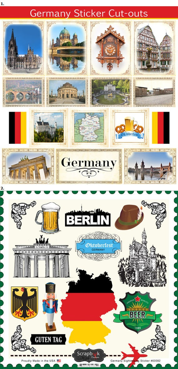 Travel stickers germany sightseeing icons images munich berlin frankfurt bavaria 31 color assorted die cut and cut out from hellotraveler on