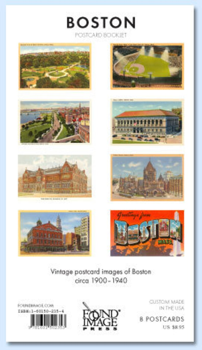 Faneuil Hall Boston Retro Scenes Booklet of 8 Full Color Removable Postcards \u2013 Trinity Church Fenway Park Public Library Postcards