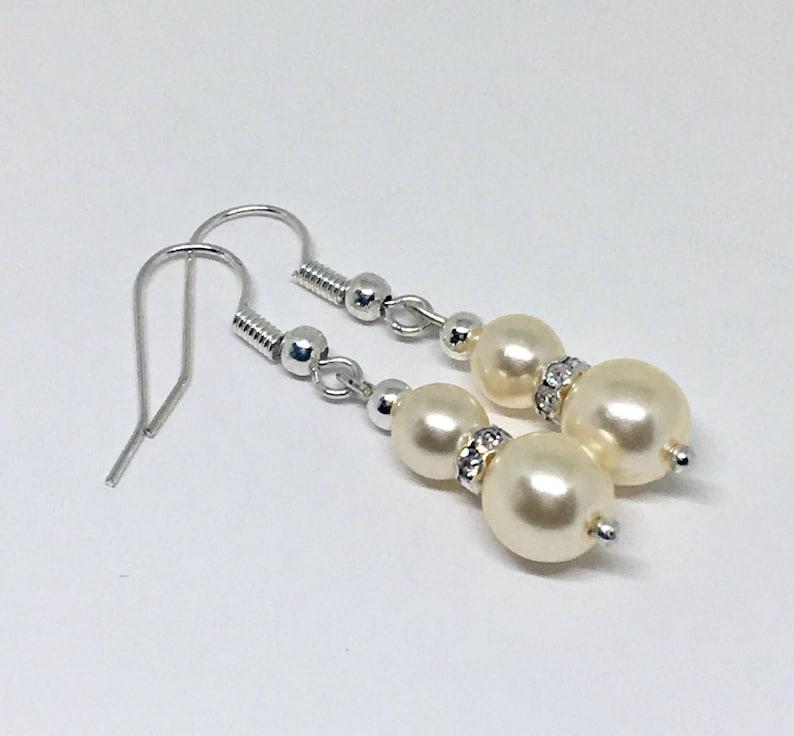 Pearl Earrings Bridesmaids Earrings,Clip on  Dangle Earrings Elegant Earrings Elegant Cream Pearl Earrings Bridal Earrings Gift for Her