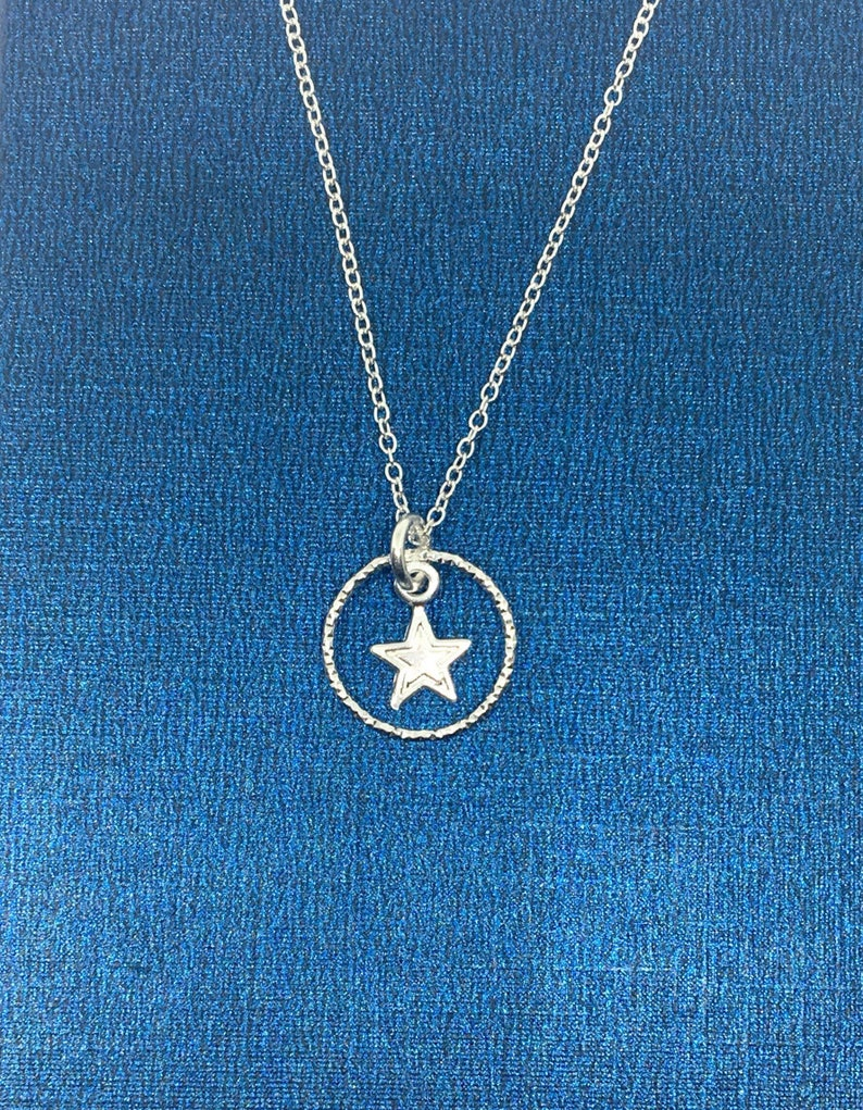 Gift for Her Uk Seller Sterling Silver Star and Eternity Ring Pendant Silver Star Necklace Everyday Necklace Silver Eternity Necklace