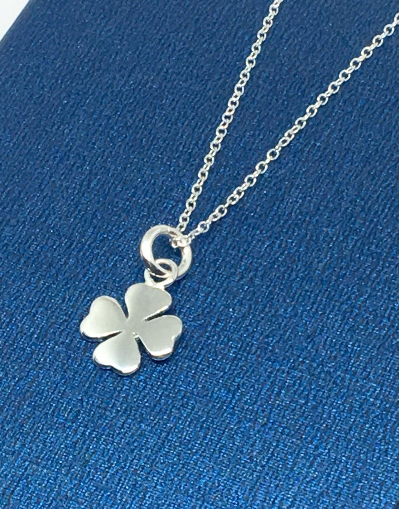 Lucky Charm Necklace Gift for Her UK Etsy shop Sterling Silver Four Leaf Clover Pendant Necklace Minimalist jewellery Layering necklace