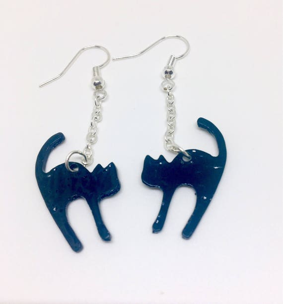 Cat dangle drop earrings with 925 sterling silver or silver plated ear wires cat jewelry UK seller