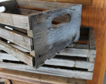 Rustic, repurposed snow fence crates