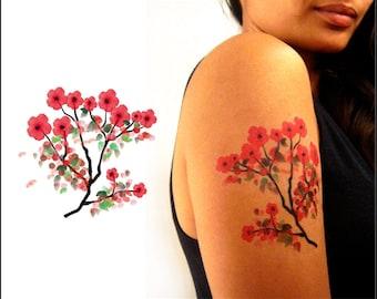 a253859b3 Cherry Blossoms - Temporary Tattoo - Watercolor - PFCB WC01
