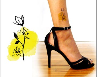 Watercolor Rose - Temporary Tattoo - Rose Tattoo Design - PFRS P01