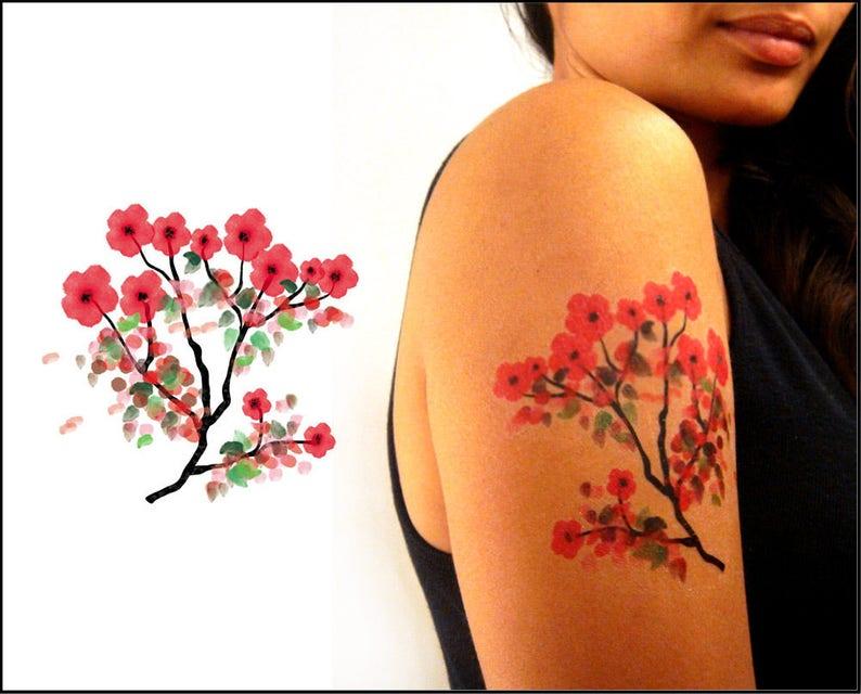 Cerisiers En Fleurs Tatouage Temporaire Aquarelle Wc01 Etsy