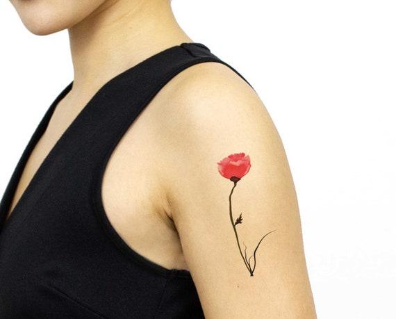 tatouage temporaire aquarelle coquelicot id es cadeaux pour. Black Bedroom Furniture Sets. Home Design Ideas