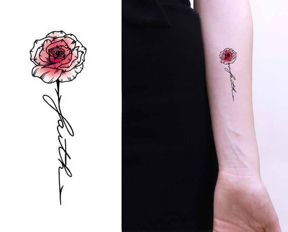 Tatouage Temporaire Rose Foi Aquarelle Citation Idees Etsy