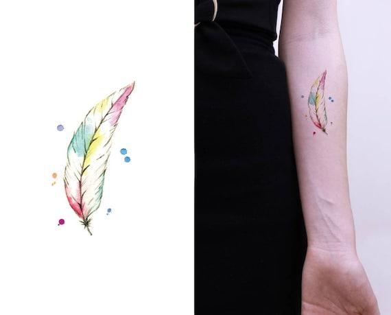 Pastel Aquarelle Plume Tatouage Temporaire Idees Cadeaux Etsy