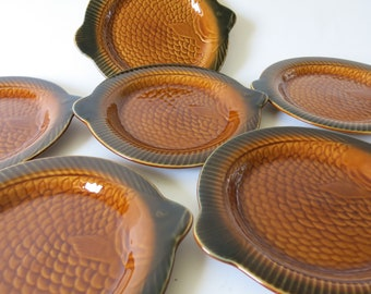 French vintage majolica fish plates, Sarreguemines, set of 6, collectable Barbotine, R0367