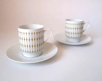50s cofffee cups and saucers in white with olive green decor, Melitta porcelain West Germany, mid century cup, 50s retro porcelain dish