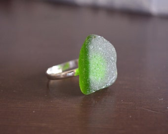 Green Seaglass Adjustable Ring