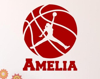 Girl Basketball Player with Personalized Name - Custom Vinyl Decal Stickers for Bedrooms
