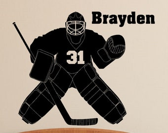 Hockey Goalie Wall Decal Personalized Name and Number Boys Room Decor
