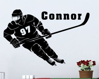 Hockey Player with Personalized Name and Number - Custom Vinyl Decal Stickers for Bedrooms