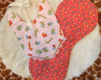 Reversible caterpiter bib/burp cloth set. Flower/caterpiter set. Baby shower gift set.
