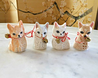 Feline Feelin/'s Collectibles by AVAA Inc Porcelain Thimbles with Kittens - Henco 1986 Set of two Vintage Thimbles